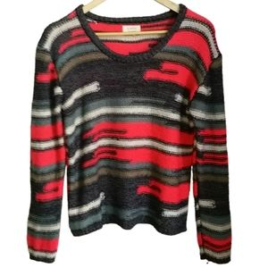 NUMPH Multicolored Loose Knitted Crewneck Sweater